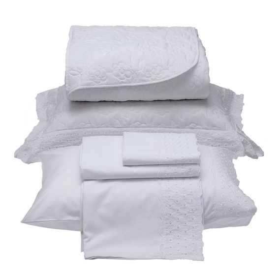 c815ba78c3 Kit Bordado Colcha + jogo de lençol 6 peças Bella Branco ...