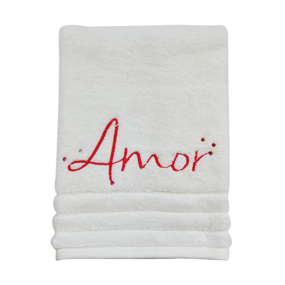 Toalha de lavabo bordada amor